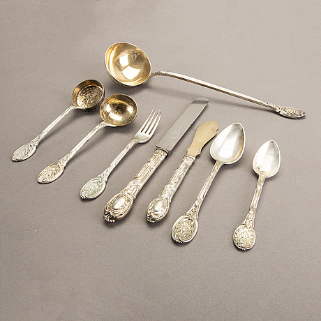 A swedish 20th century set of 29 pcs silver cutlery mark of a bergman stockhom 1902 total weight 2400 gr.