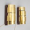 A pair of brass 'aristokrat' wall lights, fröseke ab nybrofabriken, 1960's.