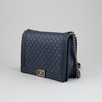 Chanel, a quilted navy leather 'Large Boy Bag', 2013-14.