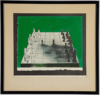 Staffan Hallström, lithograph in colours, 1970, signed with dedication.