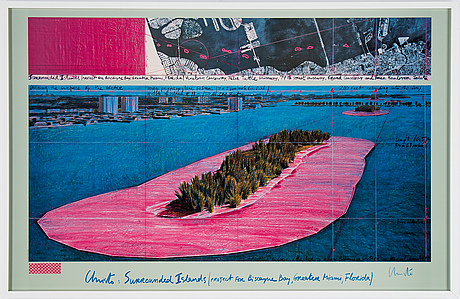 Christo & jeanne-claude, off set in colours, with textile, signed.