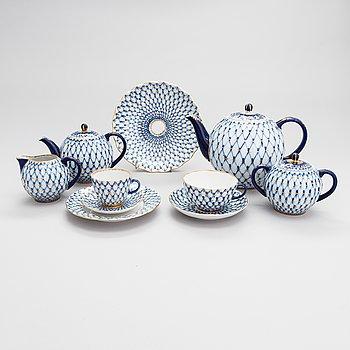 A 23-piece Lomonosov 'Cobalt Net' porcelain tea and coffee set, USSR.