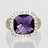 Ring 14k whitegold 1 amethyst approx 7 x 7 mm and brilliant-cut diamonds approx 0, 40 ct.