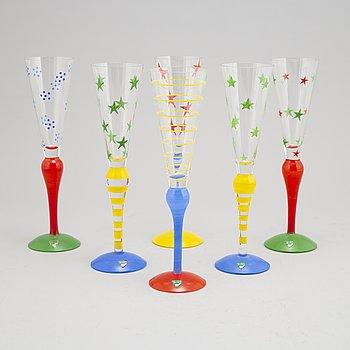 Anne Nilsson, a set of six 'Clown' champagneglasses, Orrefors.