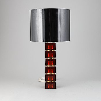 Carl Fagerlund, Orrefors, A glass and brass table light, 1970's.