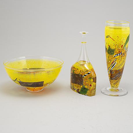 Bertil vallien, a glass vase, a bottle and a bowl, artist collection, kosta boda.