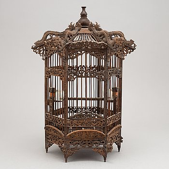A Chinese wooden birds cage, presumably around the year 1900.