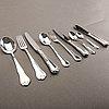 A swedish 20th century set of 99 silver cutlery mark of mema linköping 1982, weight including cartoons 3140 gr.