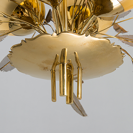 Paavo tynell, a pair of mid-20th-century '9029/4' chandelier for taito, finland.