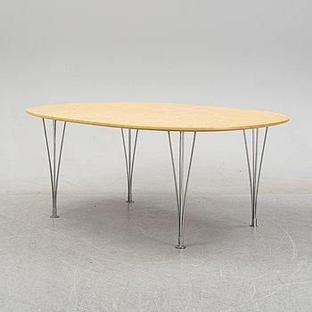 A 'Superelliptical' birch veneered dining table by Bruno Mathsson & Piet Hein, 1980's.