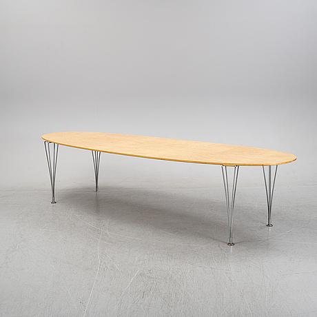 A 'super elliptical' birch veneered dining table by bruno mathsson & piet hein for mathsson international, 1980's.