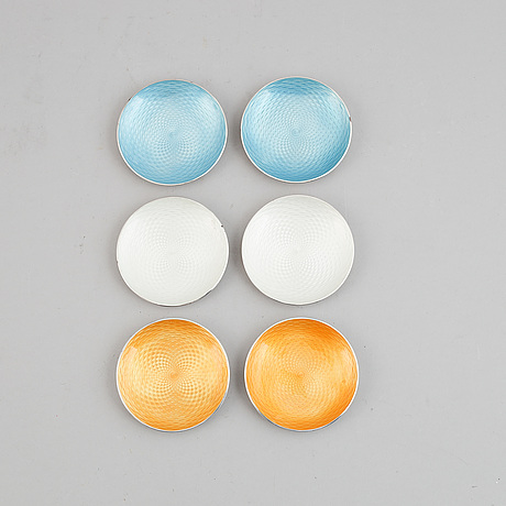 A set of six silver and enamel dishes, mark of e lauritsen, copenhagen, 1950-60s.