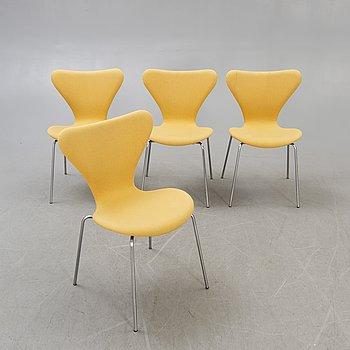 Arne jacobsen a set of four Sjuan chairs for Fritz Hansen Denmark later part of the 20th century.
