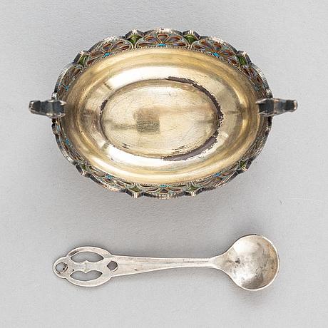 A norwegian silver and window enamelling salt cellar, mark of david andersen, oslo circa 1900.