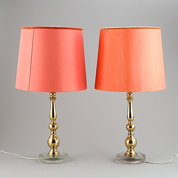 A pair of brass and glass table lamps from Falkenbergs belysning, second half of the 20th century.
