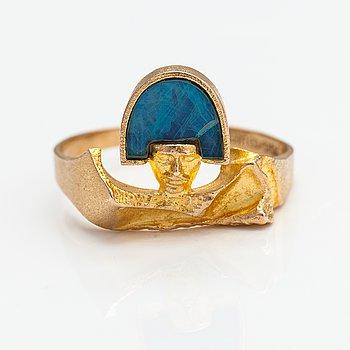"Björn Weckström, A 14K gold and opal triplett ring ""Aziabel"". Lapponia 1978."