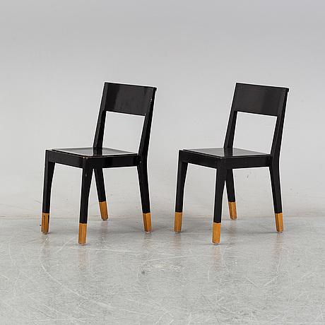A pair of thomas sandell 'ts-chair' chairs.