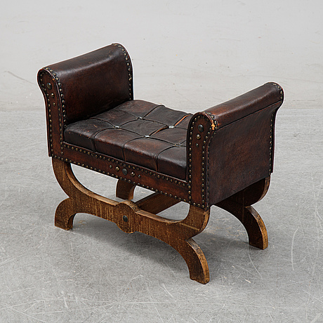 Otto schulz, a leather stool for boet, gothenburg, 1930s.