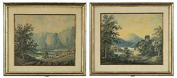 Okänd konstnär, 1800-tal, akvareller, ett par.