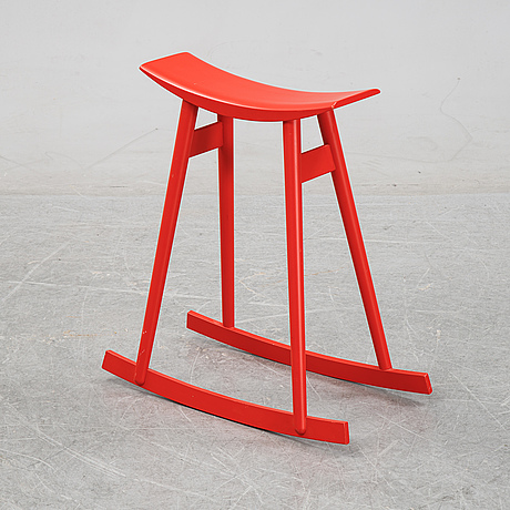 Per sundstedt, a wood rocking stool from pyra, sweden.