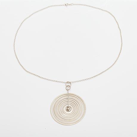 """Tapio wirkkala, """"silver moon"""", a sterling silver pendant. westerback, helsinki 1971."""