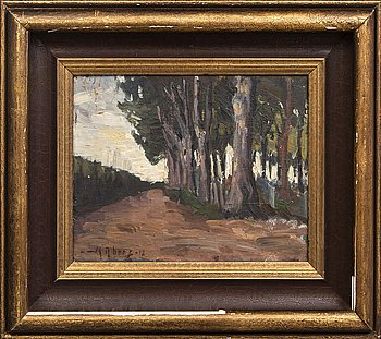 Martin Åberg, oil on panel, signed, dated 1912.