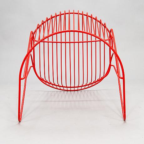 Björn dahlström, a 'kaskad' lounge chair for nola design furniture, sweden, with three 'vågsvall' cushions, marimekko.