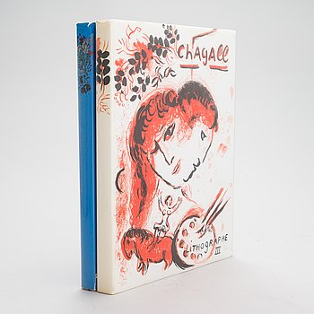 """Kirjoja, 2 kpl, """"Chagall Lithographe III"""" ja """"Chagall Litographe IV"""", 1969 ja 1974."""