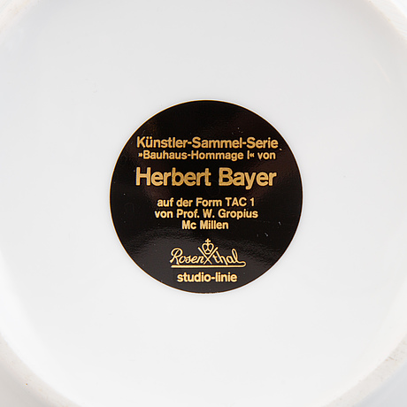 Herbert bayer, a 20-piece 'tac 1' porcelain tea service, rosenthal, germany.