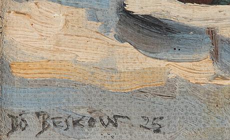 Bo beskow, olja på du/pannå, signerad och daterad 1925.