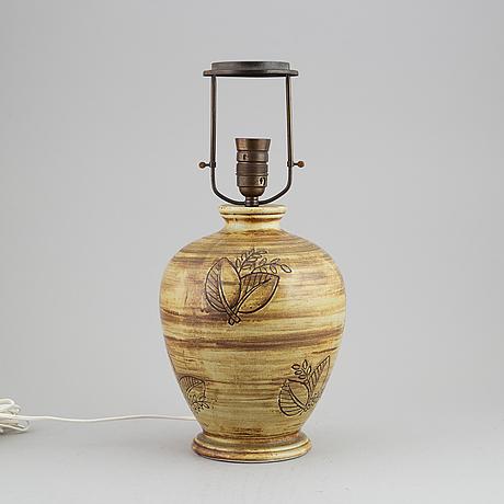 Gertrud lönegren, a stoneware table light, rörstrand, 1930's/1940's.