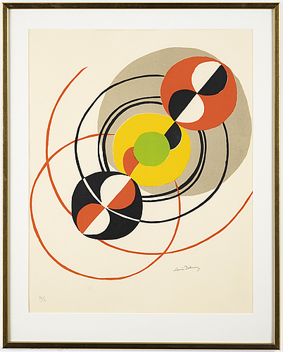 Sonia delaunay, litograph in colours, signed and numbered xl/l.