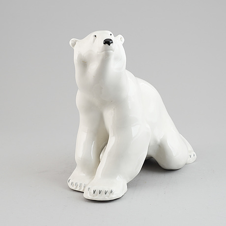 A polar bear porcelain figurine,  lomonosov, russia, 20th century.