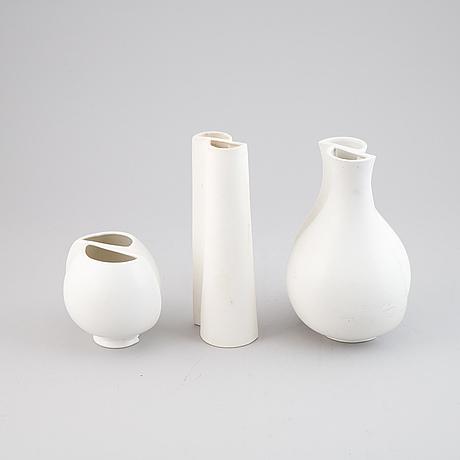 """Wilhelm kåge, three """"surrea"""" ceramic vases, gustavsberg, possibly prototypes."""