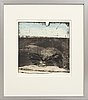 Lars lerin, a signed and dated hand colored etching, numbered 1/1.