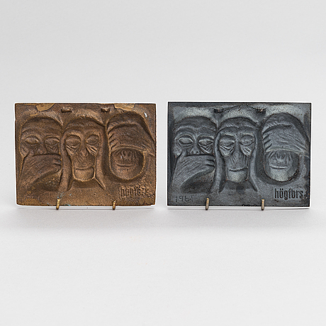 Michael schilkin, a pair of cast iron and bronze reliefs, signed and dated 1961. högfors.