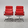 A pair of model ea 216 lounge chairs by charles and ray eames for vitra, designed 1969.