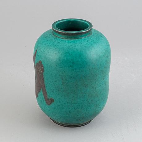Wilhelm kåge, a stoneware 'argenta' vase, model 1079, gustavsberg.