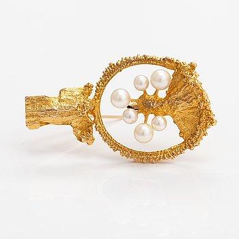 "Björn Weckström, A 14K gold and cultured pearls brooch ""Sea flower"". Lapponia 1970."