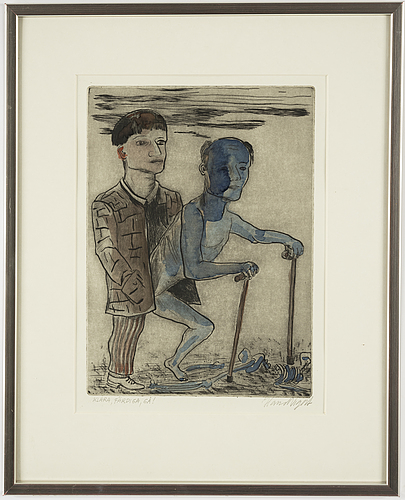Hans wigert, etching with colour, signed.