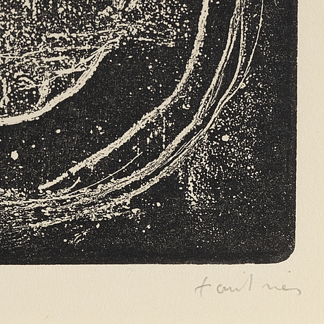 Jean fautrier, etching, signed and numbered 22/50.