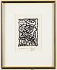 Pierre alechinsky, etching and aqvatint in colours, signed.