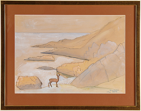 Einar jolin, watercolour, signed and dated 1958.