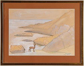 Einar Jolin, akvarell, signerad och daterad aug. 1958.