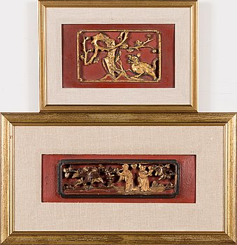 Two 20th century Chinese wall reliefs.
