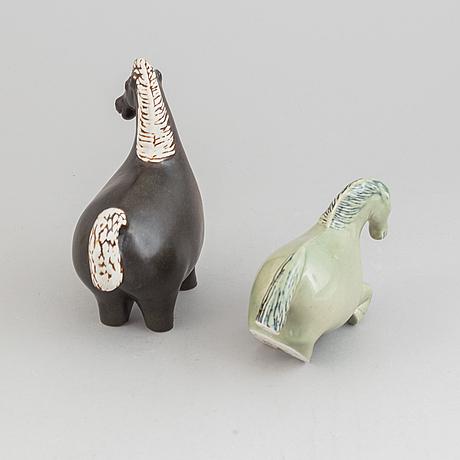 Stig lindberg, figuriner, 2 st, stengods, gustavsberg.