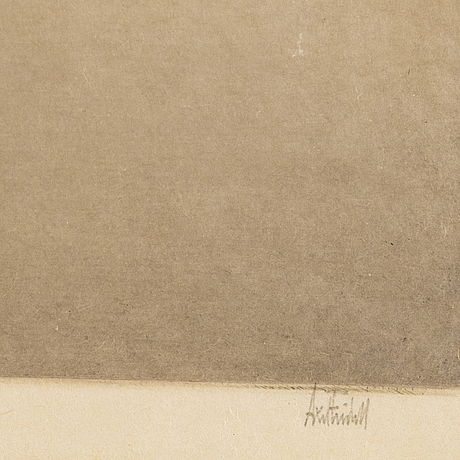 Axel fridell, drypoint, signed in pencil.