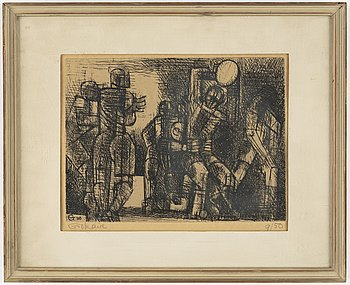 Marcel Gromaire, an etching, signed and numbered 9/50.
