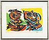 Karel appel, litograph in colours, signed and numbered 10/90.