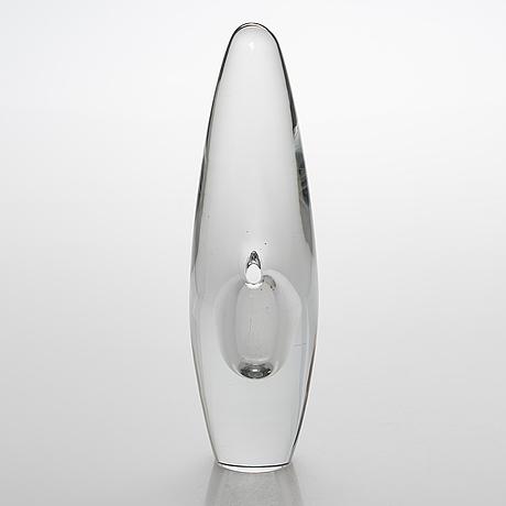 Timo sarpaneva, glass sculpture 'orchid', signed timo sarpaneva iittala -58. design year 1954.